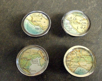 Map Drawer Pulls Italy Cities  1 set of 4 Vintage Atlas Rome Milan Firenze Venice Shipped Free in the US on sale