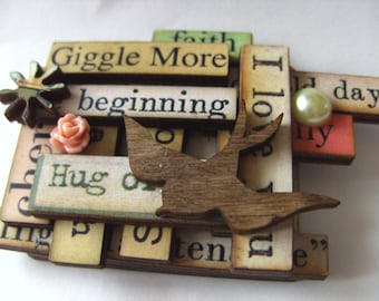 Wooden, Words, Brooch, browns, by NewellsJewels on etsy