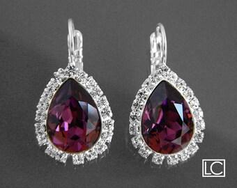 ON SALE Amethyst Crystal Halo Earrings Swarovski Amethyst Rhinestone Silver Earrings Purple Leverback Earrings Wedding Purple Bridal Jewelry
