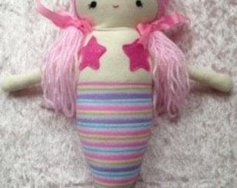 Mermaid Doll, Mermaid Rag Doll, Pink, Handmade Doll
