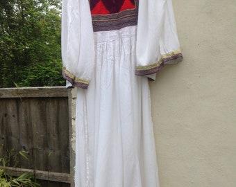 ORIGINAL 60s 70s white embroidered kuchi pagan hippie maxi dress XXS uk 4 6