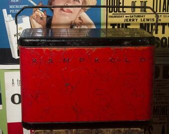 Vintage Metal Cooler, RARE All Metal Red & Black Splatter KAMP KOLD Ice Chest, Large Ice Box, Alocoa Aluminum Kampkold Cooler