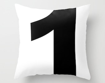 Personalized Pillow Cover, Custom Number, black and white typography pillow, lucky number number one, c pillow,  pillow