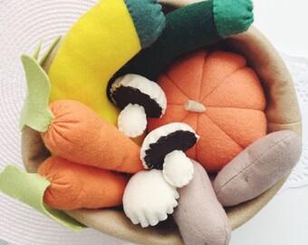Felt Play Food Vegetable Set, Pretend Play, Play Shop, Carrots, Mushrooms, Squash, Zucchini, Potatoes, Pumpkin, Play Kitchen