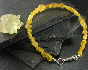 Heliodor Golden Beryl Genuine Bracelet ~ 7 Inches  ~ 6mm Raw Beads