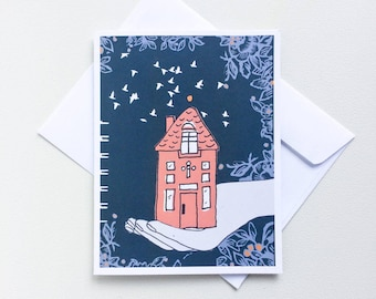 New Home Greeting Card - Welcome Home, Tiny House, First Home, Moving, Housewarming