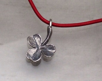 Clover Leaf Pendant on leather- Sterling Silver