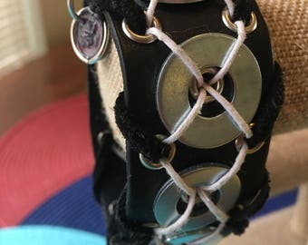 Riveted Black leather snap cuff handmade Kismet bracelet w/ suede straps, washers and twine cris-crosses, When will you get your Kismet on?
