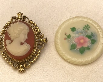 Vintage Avon Brooch Lot Cameo Pin Brooch Perfume Glacé Spring Bouquet Porcelain Flower Round Brooch