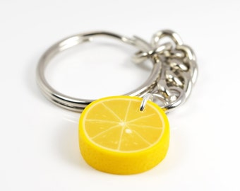 Lemon Slice Keychain / miniature food jewelry