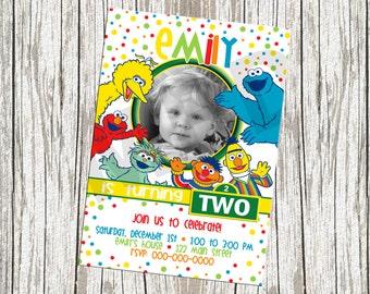 Sesame Street Character Photo Birthday Invite - Any age