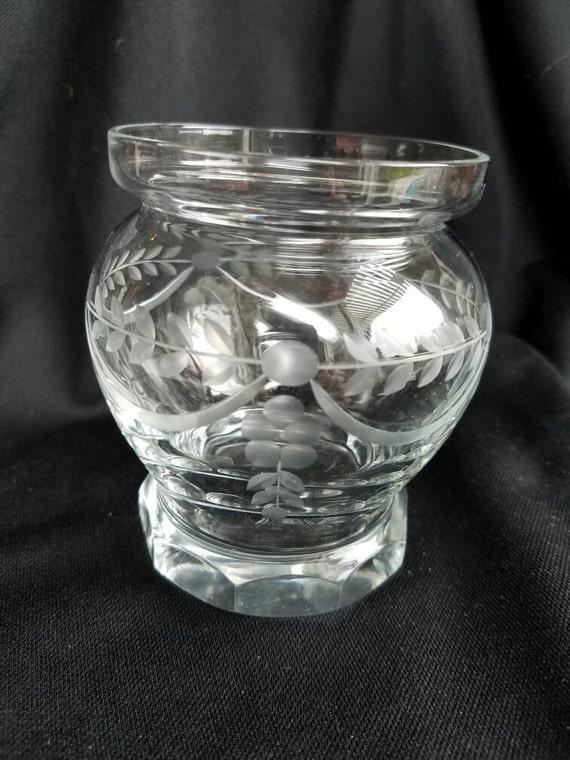 Small Vintage Clear Etched Glass Vase Floral Etched Vase