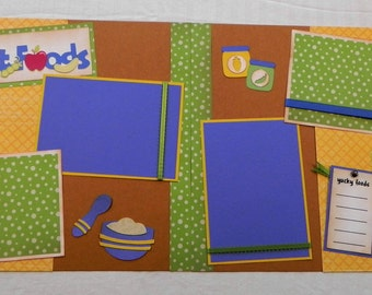 My First Food 12x12 Pre-Made scrapbook page, Pre-Made 1st Foods layout