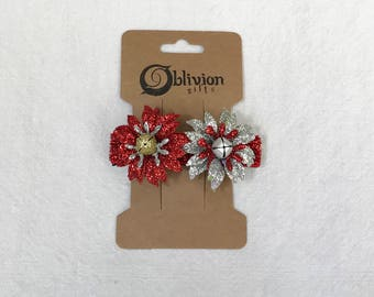 Christmas Glitter Chrysanthemums w/ Red Back Barrette