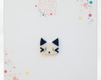 Pine cat miyuki delica - black and white atmosphere - peyote stitch beadwoven