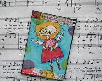 Cupcake fairy mixed media ATC / ACEO