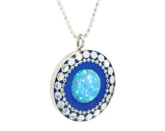 Opal Pendant Necklace | Blue Opal Necklace | Sterling Silver Necklace | Opal Pendant | Silver Necklace | Opal Necklace | Gift for Her