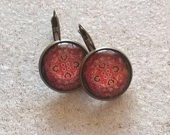 Oriental red pattern earrings glass dome, bohemian style