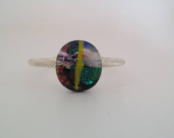 Fused Glass Cuff Bracelet, Dichroic Glass Bracelet, Bracelet,
