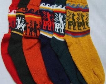 Alpaca Socks, warm and comfortable, 100% Alpaca wool yarn socks, bright colors