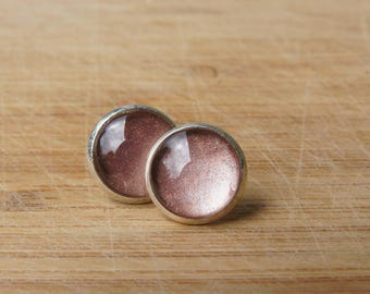 sand colored. Beige/cabochon earrings silver / cabochon 12 mm / trendy, gift for you