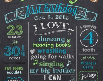 Football First Birthday Chalkboard Poster - Sports 1st Birthday Chalk Board Sign - Printable Photo Prop