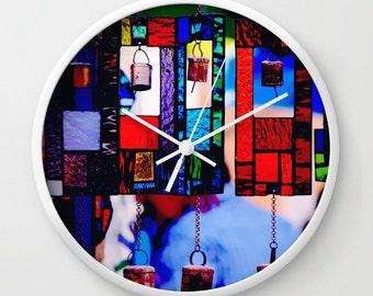 "Blue Wall Clock, Red Blue Clock, Urban Photography: ""Glass Wind Chimes"", Blue Wall Decor, Office Decor, Flea Market Decor"