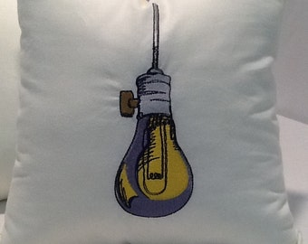 Embroidered Light Bulb Decorative Throw Pillow