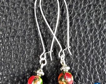 Delicate  Pretty Multicolore Sea Sediments Jasper & Plated Silver Earrings
