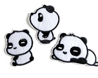 Set of 3 patches, patch fusible PANDA to sew or iron