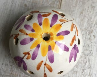 Ceramic Pomander, Cream with Floral Design in Purple, Yellow and brown