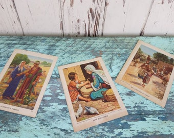 Antique Religious Lithograph Prints by Providence Lithograph - Vintage Religious Gift or Home Decor, Retro Unframed Prints, Farmer + Helper