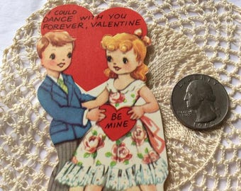 Vintage 1950s 1960s Valentine Card Little Boy & Girl Made In USA Paper Ephemera Scrap Booking Arts Crafts