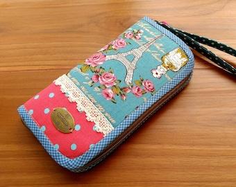 Vintage Paris Wallet, Zipper Wallet, Women Wallet, Long Wallet, Card Wallet, Vegan Wallet, Wristlet Wallet, Blue Wallet, Polka Dot Wallet