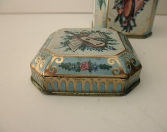 Meister Vintage DECORATIVE TIN - aqua, music, Made in Brazil