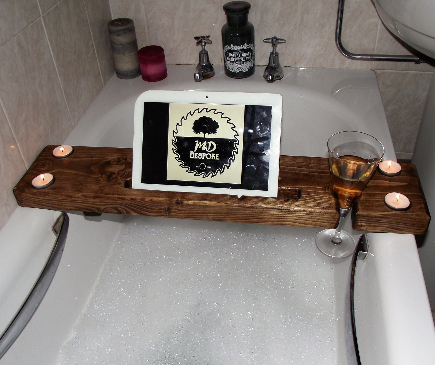 Bath board Bath Caddy Wooden Bath Tray Wine glass holder