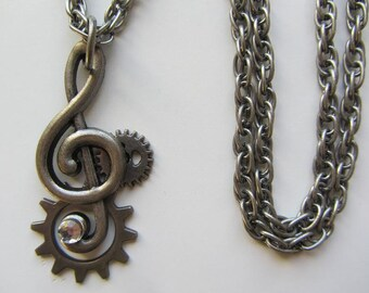 Treble Clef Steampunk Music Necklace