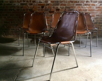 Charlotte Perriand Dining Chairs Leather Set of Six Les Arcs 1960s Original