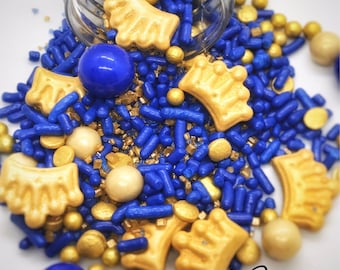 Royal blue and gold sprinkles, royal blue baby shower, Royal blue party decorations , royalty, sprinklemix, crown sprinkles, prince themed,