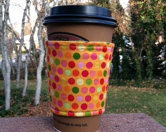 Fabric cup cozy / cup holder / coffee sleeve / coffee cozy / cup sleeve -- Crazy for Dots - orange