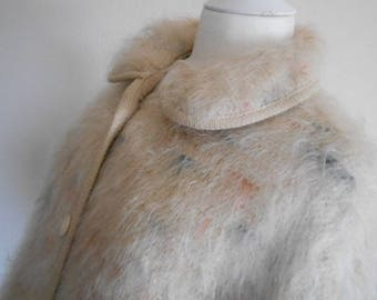 Vintage Cape 1970 Mohair Wool Vintage Clothing Cream Blue Coral Highlights Round Collar Buttoned Woven in Grasmere Lakeland Designer Clothes