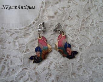 Butterfly enamel earrings clip ons