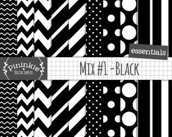Black and White Digital Paper, Chevron, Polka Dot, Stripe, Diagonal Stripe, Scrapbook Paper, Instant Download