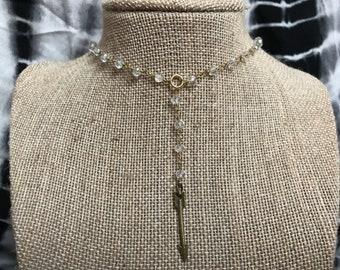 Gold Crystal Bronze Arrow Lariat