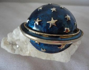 Midnight Blue Enamel Planet Vintage Brooch.