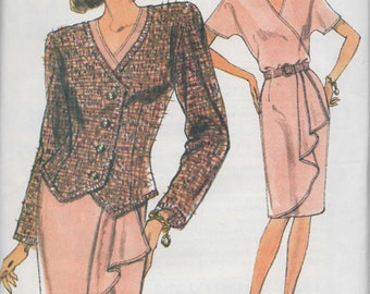 Uncut Vogue 7822 Easy Mock Wrap Top, Skirt and Jacket Sewing pattern Size 14 to 18