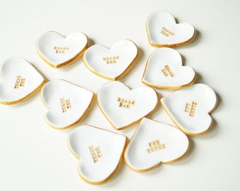 10 Wedding Favors for guests, white heart favors, wedding gift, personalized fovors