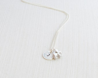Initial Necklace & Elephant Charm, Initial Jewelry, Silver Plated Disc Necklace, Elephant Necklace, A great gift idea