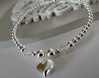Heart stretch stacking bracelet with moonstone beads stretch bracelets