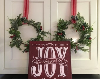 """Joy to the World / Hand painted Sign / Christmas Sign / 12"""" x 24"""" / Red Chalk Paint and White Acrylics"""